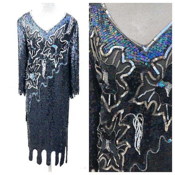 Vintage VTG 80s 1980s does 20s Silk Sequin Flapper