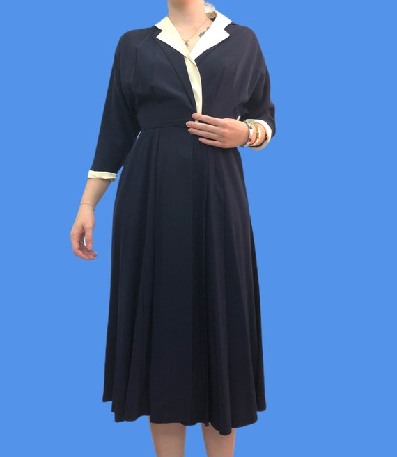 Vintage VTG 1940s 40s Navy White Midi Day Dress