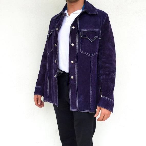 Groovy navy suede 1970s jacket