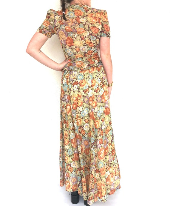 Vintage 70s floral two piece top and skirt set - image 5