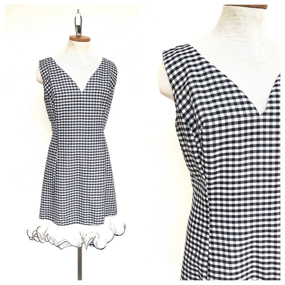 Vintage VTG 1960s 60s Black and White Gingham Shif