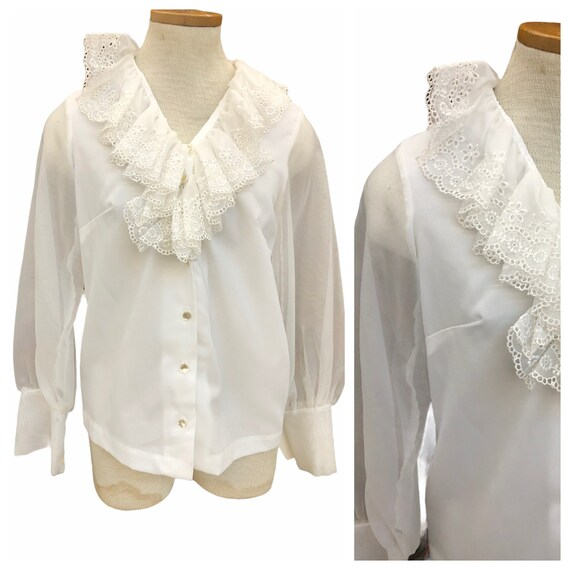 Vintage VTG 1970s 70s White Ruffle Puff Sleeve Rom