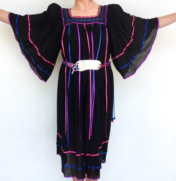 Beautiful 1970's Black Bohemian Gauze Tunic Dress