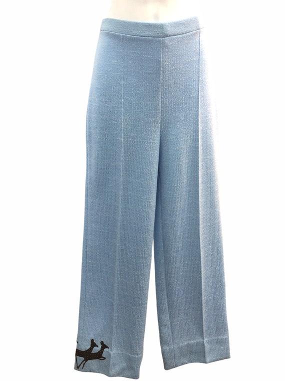 Vintage VTG 1970s 70s Blue Knit Trousers Pants wi… - image 2