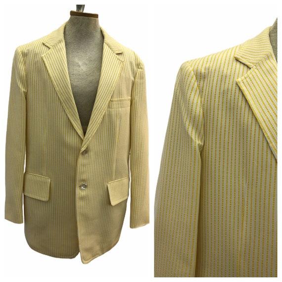 Vintage VTG 1970s 70s Yellow Seersucker Blazer Jac