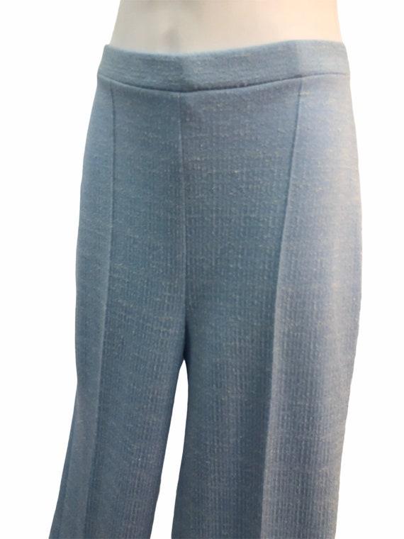 Vintage VTG 1970s 70s Blue Knit Trousers Pants wi… - image 3