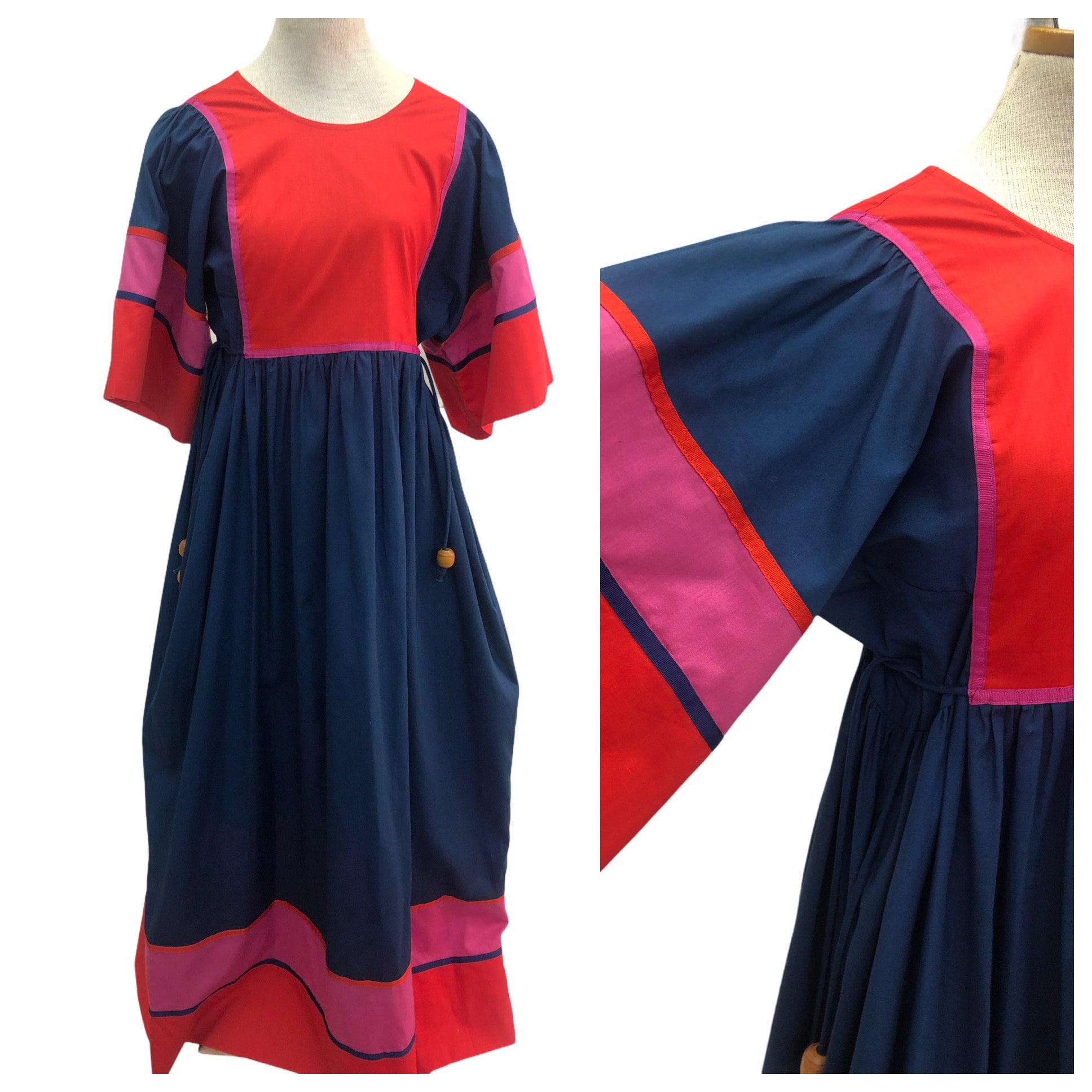 80s Dresses | Casual to Party Dresses Vintage Vtg 1970S 1980S 70S 80S Colorblock Pink Blue Tent Maxi Dress $0.00 AT vintagedancer.com