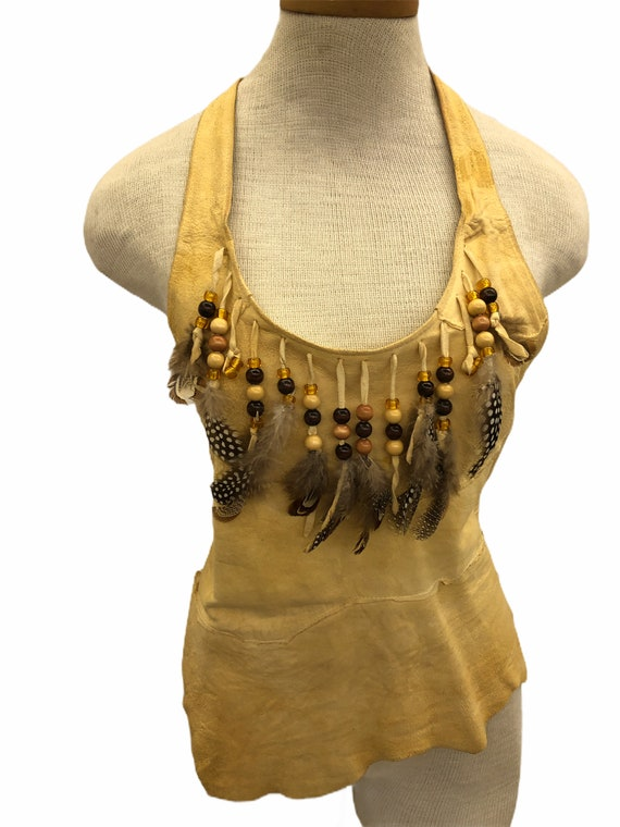 Vintage VTG 1970s 1980s Tan Leather Beaded Feathe… - image 2