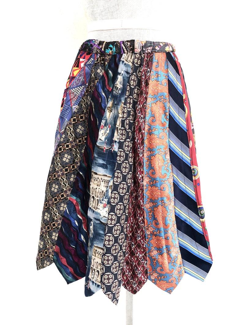 Vintage VTG 1990s Handmade Unique Multicolored Tie Knee Length Skirt