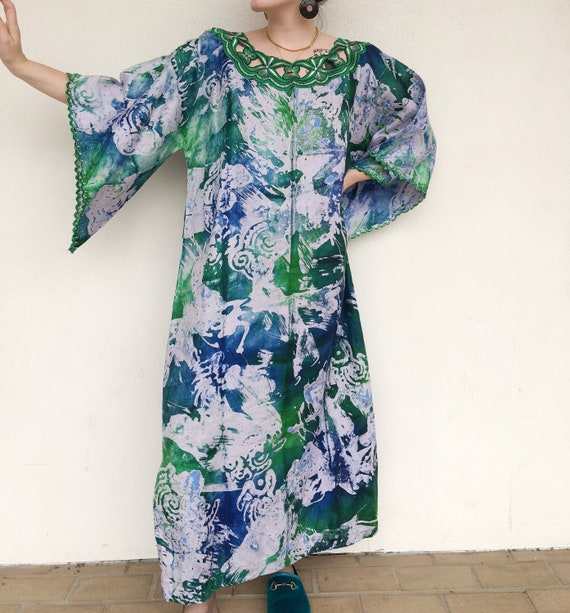 70s blue and green tie dye muumuu maxi dress
