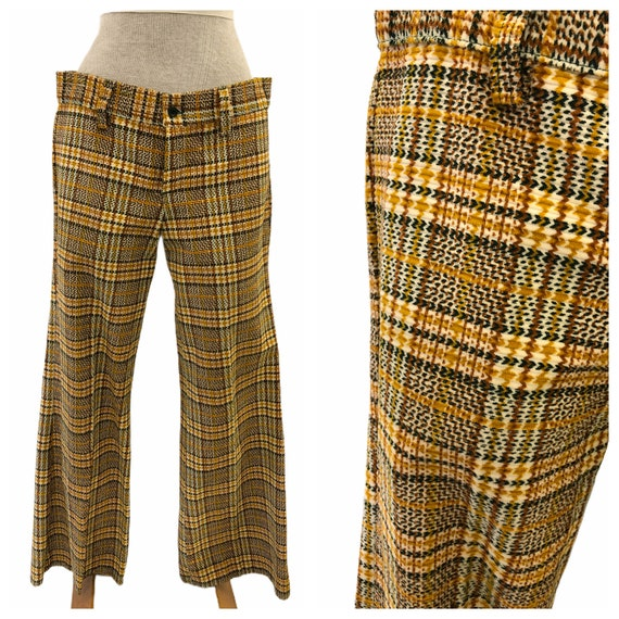 Vintage VTG 1970s 70s Yellow Plaid Pattern Flare … - image 1