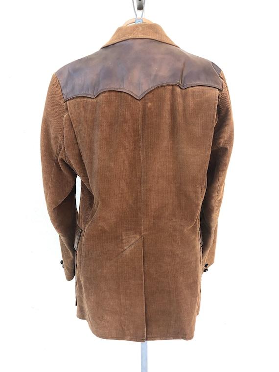 Vintage VTG 1970s 70s Brown Corduroy Leather Pion… - image 3