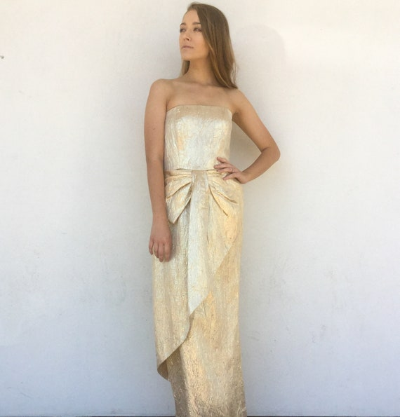 1980s Victor Costa Gold metallic Gown - image 1