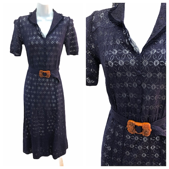 Vintage VTG 1930s 30s Navy Lace Sheer Day Dress wi