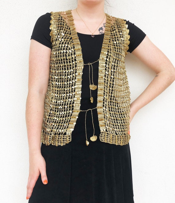 Gold 60s woven vest with sequin detailing