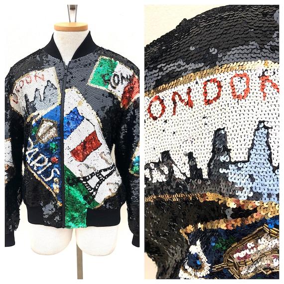 Vintage VTG 1990s 90s Black Sequined City London R