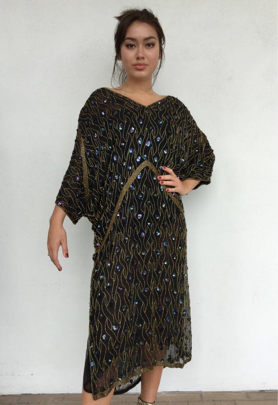 Disco does deco 80s silk black beaded batwing shee