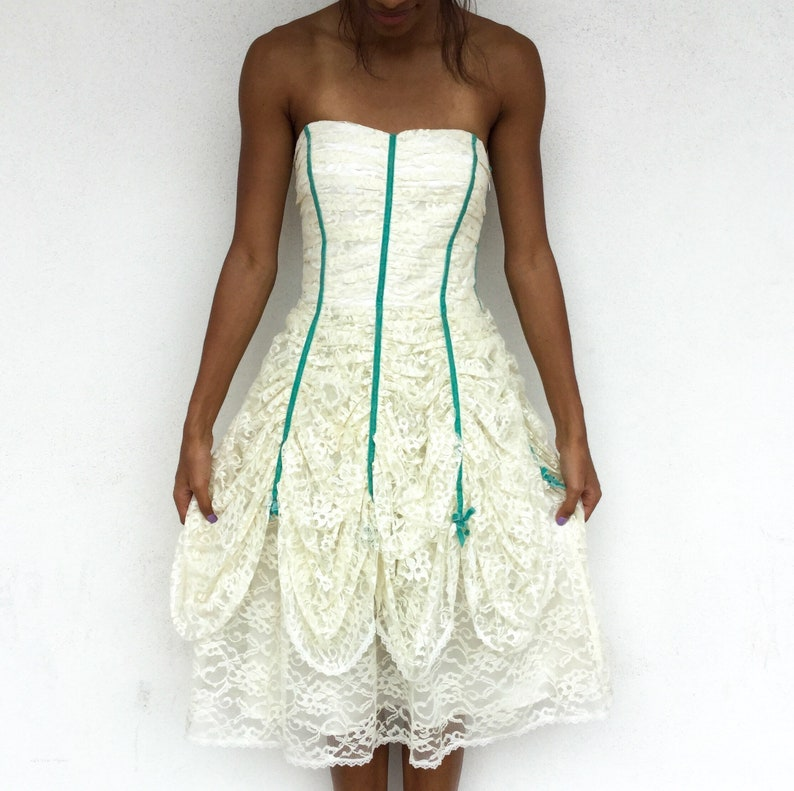 Beautiful Early 2000s Betsey Johnson Evening White Lace Party 80s Style Dress With Teal Velvet Ribbon Detail