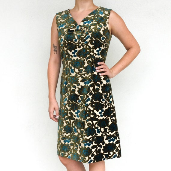 1960s green and blue floral tapestry dress
