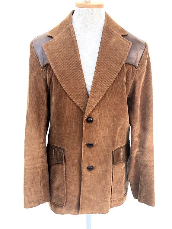 Vintage VTG 1970s 70s Brown Corduroy Leather Pion… - image 2