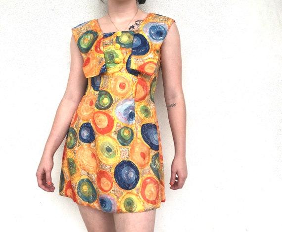 60s mod orange patterned sleeveless mini dress