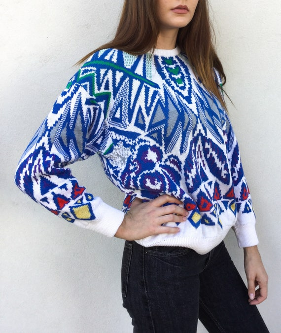 1980s Coogi White and Blue Patterned Sweater