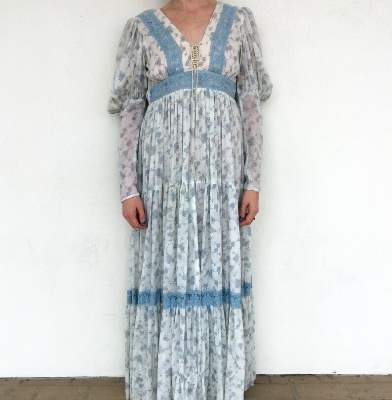 0e89a55188532 Ethereal Bohemian 1970's Gunne Sax Blue Floral Sleeved Maxi Dress