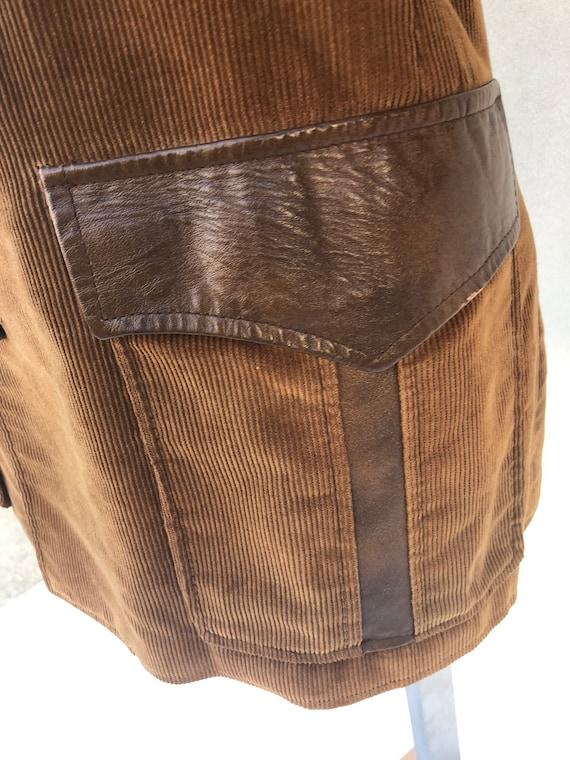 Vintage VTG 1970s 70s Brown Corduroy Leather Pion… - image 4