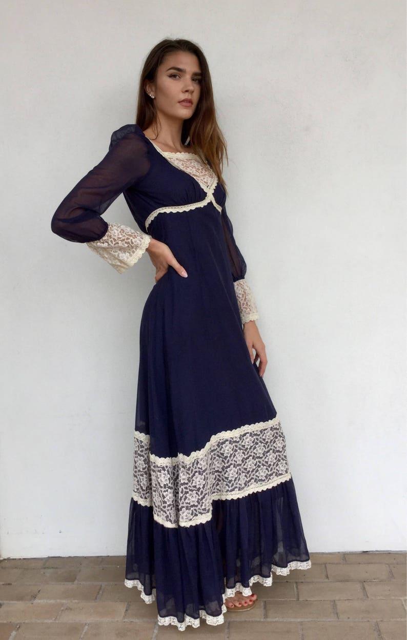 f852d84ca8050 Late 60s black label collectible Gunne Sax navy long sleeve prairie dress