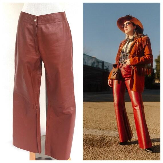 Vintage VTG 1970s 70s Red Leather Flared Pants
