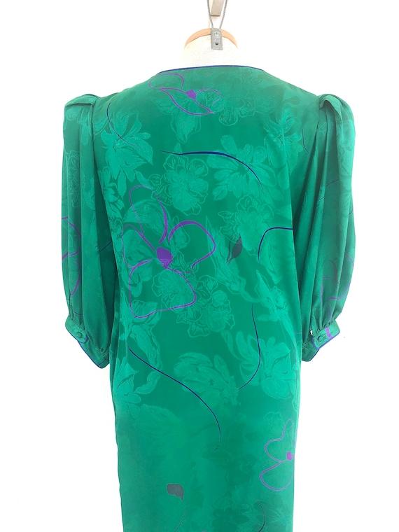 Vintage VTG 1980s 80s Flora Kung Green Silk Flora… - image 4