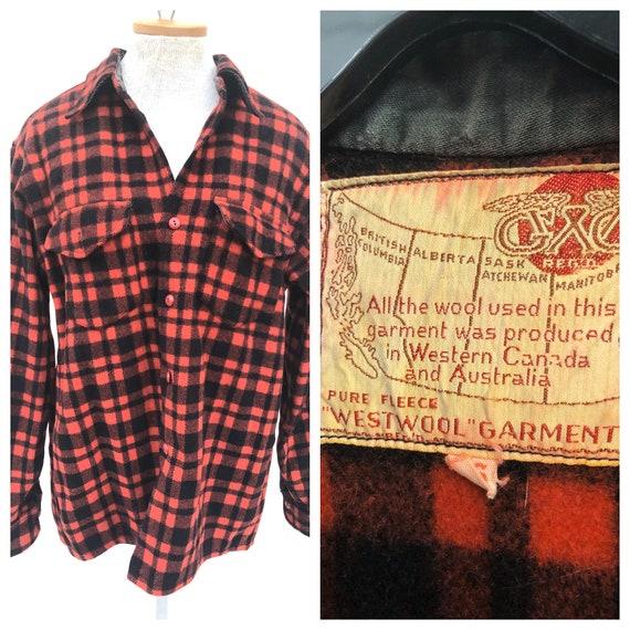 Vintage VTG 1940s 40s GWG Red Buffalo Plaid Wool W