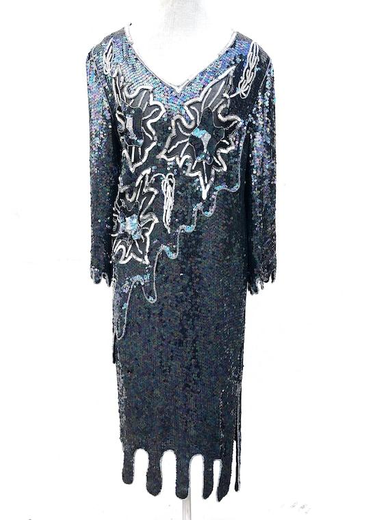 Vintage VTG 80s 1980s does 20s Silk Sequin Flappe… - image 2
