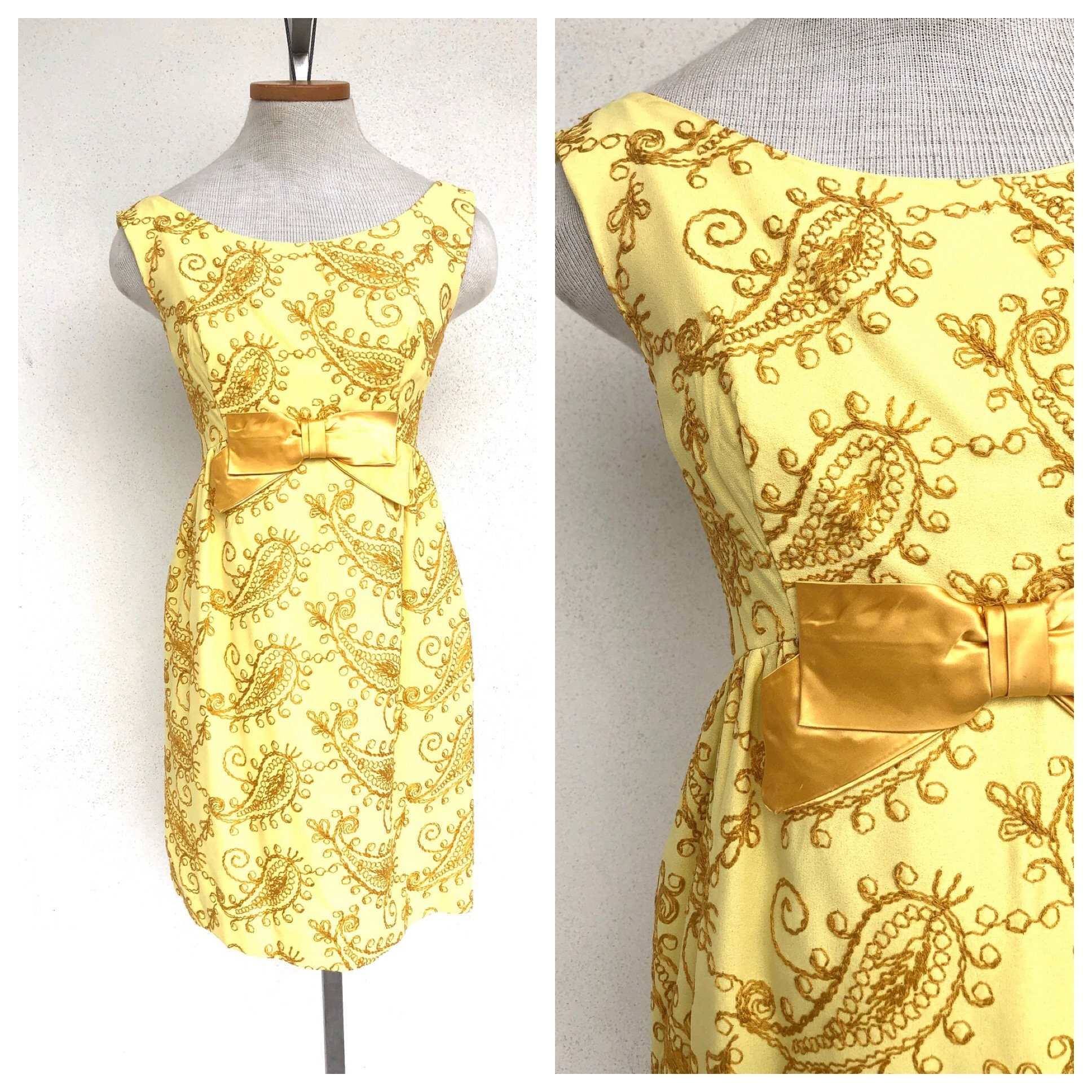 60s -70s Jewelry – Necklaces, Earrings, Rings, Bracelets 60S Lemon Yellow Embroidered Dress $0.00 AT vintagedancer.com