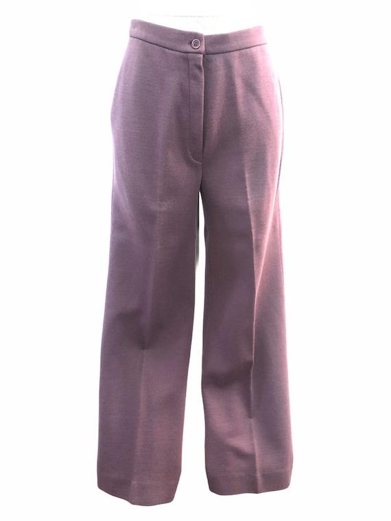 Vintage VTG 1970s 70s Mauve Purple Knit Trousers … - image 2