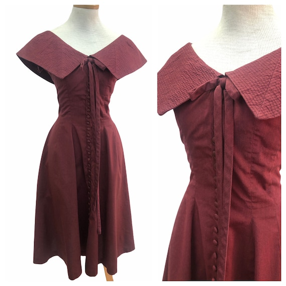 Vintage VTG 1950s 50s Gigi Young Maroon Red Fitted