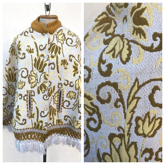 Vintage VTG 1960s 60s Yellow White Tapestry Patter