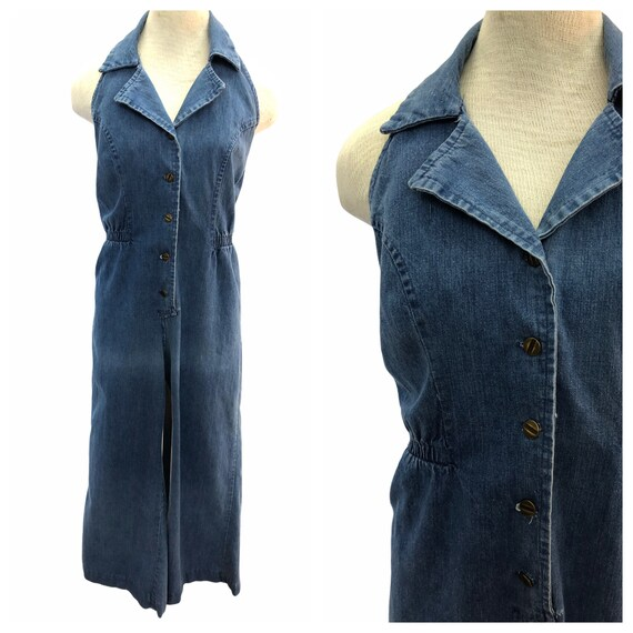 Vintage VTG 1970s 70s Medium Wash Denim Disco Halt