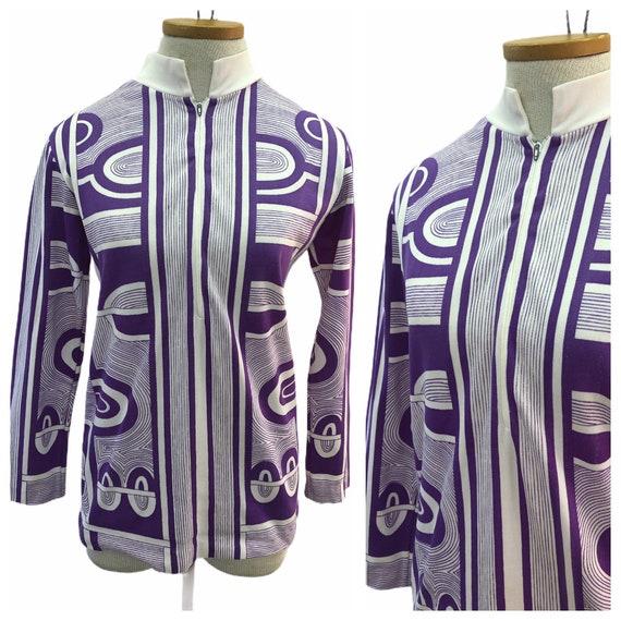 Vintage VTG 1960s 60s Mod Purple White Patterned H