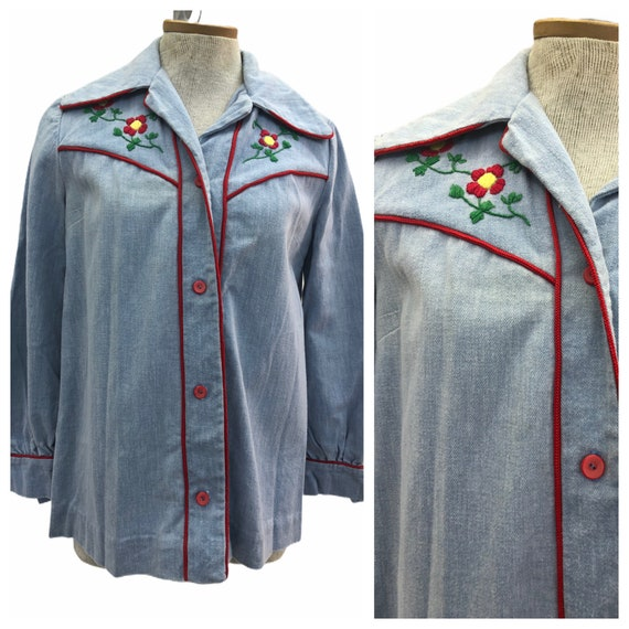 Vintage VTG 1970s 70s Denim Embroidered Button Up