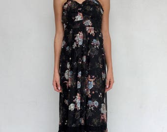 Candi Jones 70s black floral maxi dress with tie straps