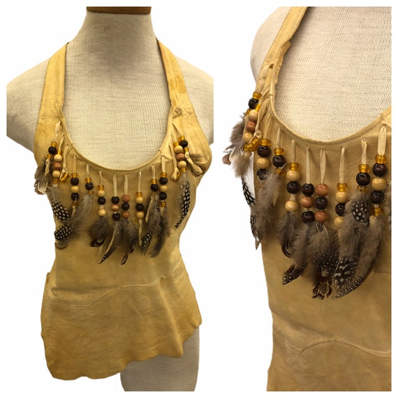 Vintage VTG 1970s 1980s Tan Leather Beaded Feather