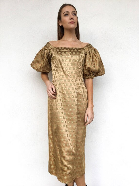 1950s Designer Gold Brocade Suzy Perette Dress