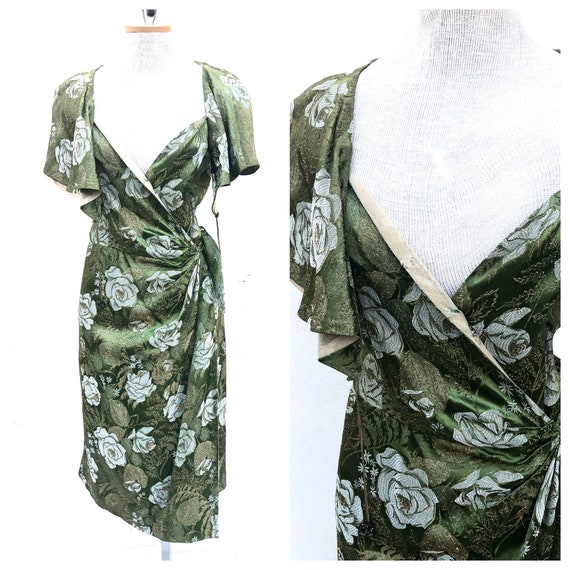 Vintage VTG 1930s 30s Green Metallic Brocade Wrap