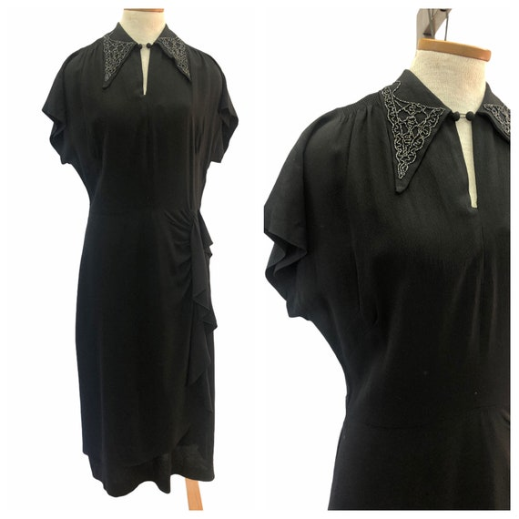 Vintage VTG 1940s 40s Black Crepe Beaded Draped Dr
