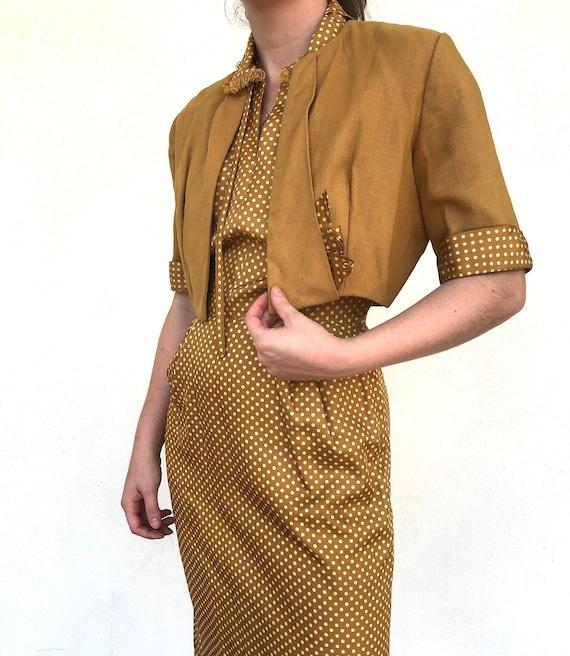 Vintage 50s Silk Two Piece Dress Set, 1950s Mustar