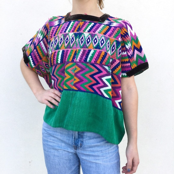 1970s embroidered Guatemalan poncho top