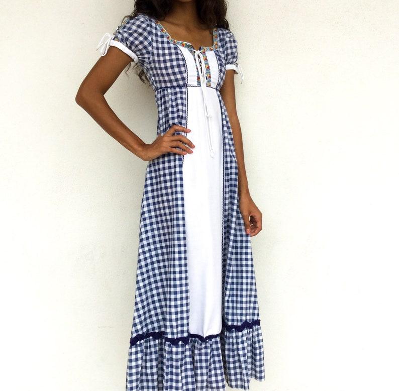 10471533a4031 Super Cute 1970's Black Label Gunne Sax Gingham Prairie Maxi Dress