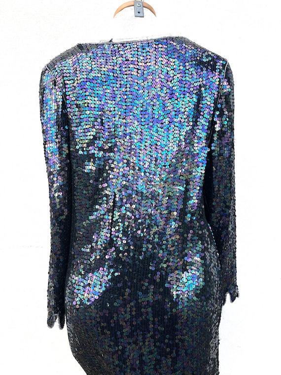 Vintage VTG 80s 1980s does 20s Silk Sequin Flappe… - image 5