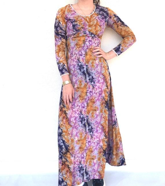 Vintage 70s Tie Dye Purple Patterned Maxi Dress, 1